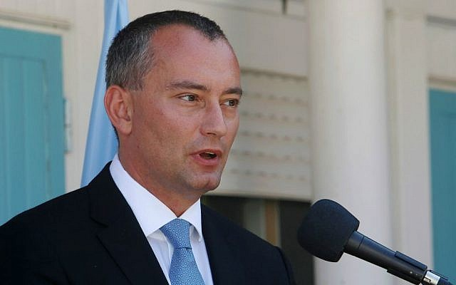United Nations Special Coordinator for the Middle East Peace Process Nikolay Mladenov talks during a press conference in Gaza City, September 17, 2015. (AP/Adel Hana)