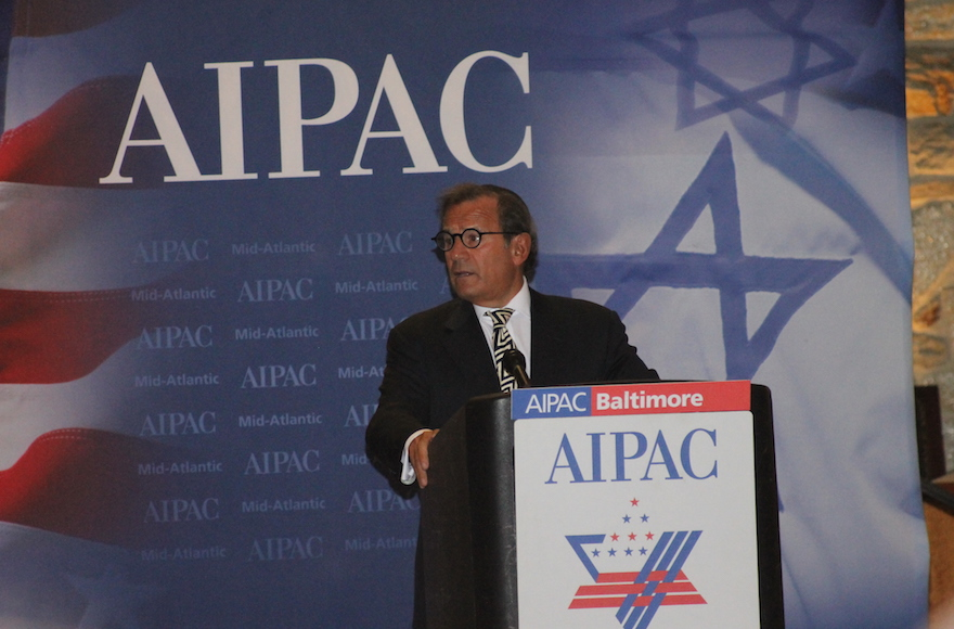 Rabbi Mitchell Wohlberg speaking at an AIPAC event in suburban Baltimore in opposition to the Iran nuclear deal, Sept. 1, 2015. (JTA/ Courtesy of the Baltimore Jewish Times)