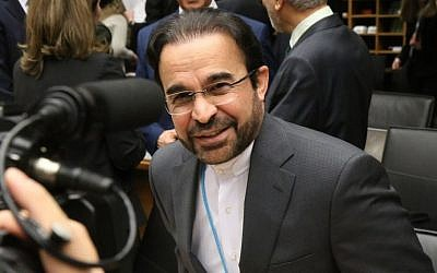 Iran's Ambassador to the International Atomic Energy Agency Reza Najafi at the IAEA board of governors meeting at the International Center, in Vienna, Austria, Monday, March 2, 2015. (Ronald Zak/AP)