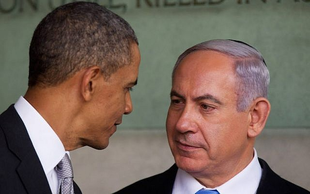 US President Barack Obama speaks with Israeli Prime Minister Benjamin Netanyahu during his visit to the Yad Vashem Holocaust Memorial museum on March 22, 2013, in Jerusalem, Israel. (Uriel Sinai/Getty Images/JTA)