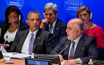 Barack Obama, accompanied by, rear, from left, National Security Adviser Susan Rice, Secretary of State John Kerry, and US Ambassador to the UN Samantha Power, right, listens as Iraqi PM Haider al-Abadi, seated next to Obama, speaks at a summit on IS at the UN in New York on Sept. 29, 2015. (AP/Andrew Harnik)