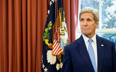 Secretary of State John Kerry at the Oval Office of the White House in Washington, DC, on September 15, 2015 (AP/Andrew Harnik)