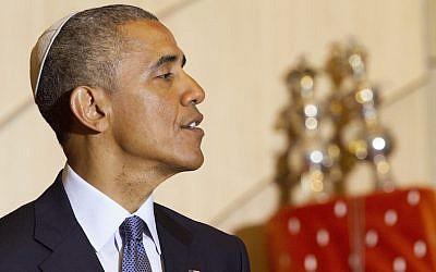 President Barack Obama, wearing a yarmulke, speaks at Adas Israel Congregation in Washington, Friday May 22, 2015, as part of Jewish American Heritage Month. (AP Photo/Jacquelyn Martin)