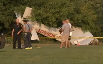 Coast Guard plane where it crash landed in Bergen County, September 3, 2015 (NBC screenshot)