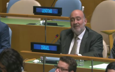 Israeli Ambassador Ron Prosor delivers his final speech at the United Nations on September 11, 2015. (screen capture: YouTube)