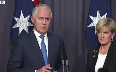 Australian Prime minister-elect Malcolm Turnbull speaks to the press after his victory in a Liberal Party vote. (screen capture: BCC)