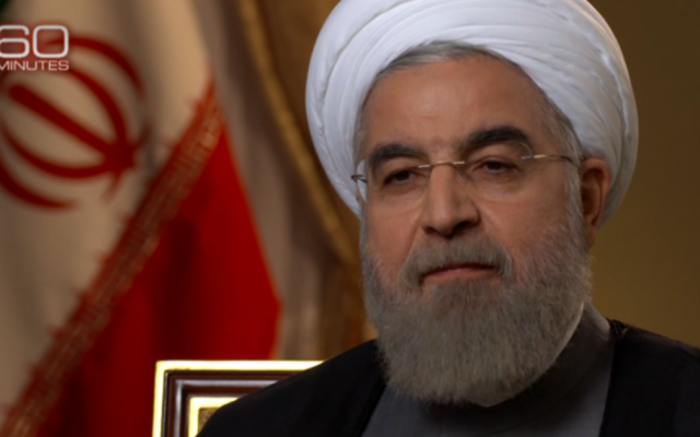 Iranian President Hassan Rouhani speaks to CBS on September 18, 2015. (screen capture: CBS 60 Minutes)