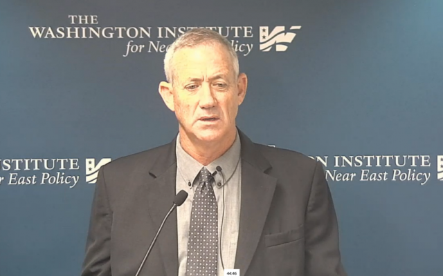 Former IDF chief of General Staff Benny Gantz speaks to the Washington Institute, September 25, 2015 (Washington Institute screenshot)