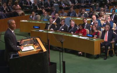 President Barack Obama speaks to the UN General Assembly, September 28, 2015 (UN screenshot)