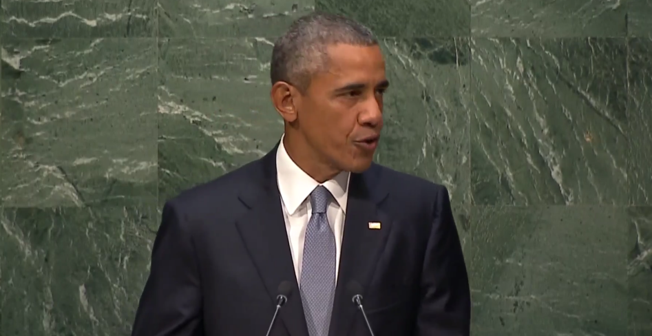 President Barack Obama speaks to the UN General Assembly, September 28, 2015 (UN screenshot)