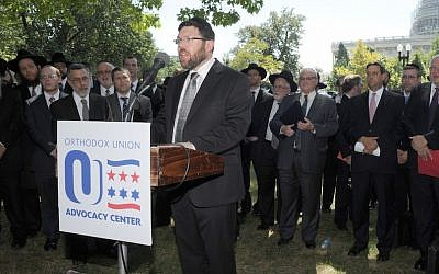 Orthodox Rabbi Marc Penner speaking at the Tea Party rally against the Iran deal on Capitol Hill in Washington, D.C. on September 9, 2015. (JTA/Ron Kampeas)