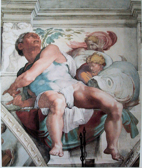 The Prophet Jonah, as depicted by Michelangelo in the Sistine Chapel (Wikipedia)