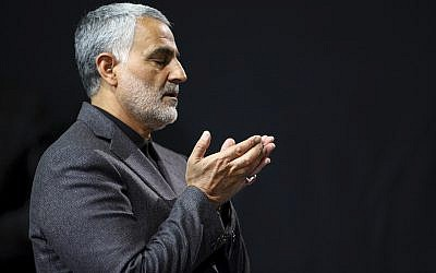 Qassem Suleimani, commander of Iran's elite Quds Force, praying at a mosque in the residence of Supreme Leader Ayatollah Ali Khamenei in Tehran, March 27, 2015. (Office of the Iranian Supreme Leader/AP Images)