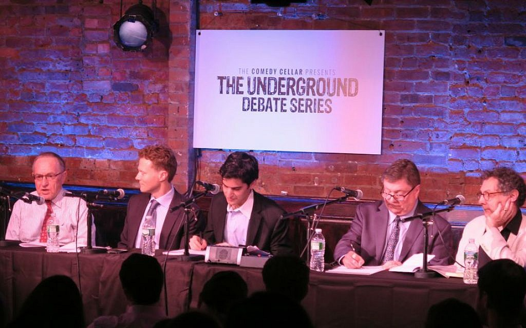 At a September 4, 2015 debate at the Comedy Cellar, lawyer Alan Dershowitz and Georgetown Prof. Matthew Kroenig argued against the Iran Deal. Dr. Jim Walsh of MIT and Fred Kaplan, an author and columnist for Slate, were in support of the deal. Harry Enten, a political writer for the news website fivethirtyeight.com, moderated. (Luke Tress/The Times of Israel)