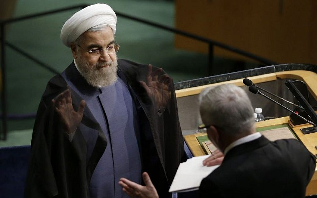 Hassan Rouhani finishes speaking during the 70th session of the United Nations General Assembly at UN headquarters, Monday, Sept. 28, 2015. (AP/Seth Wenig)