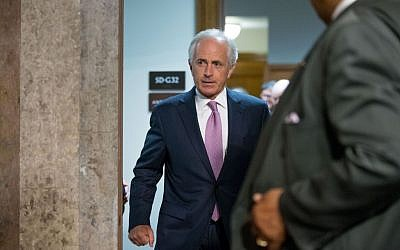 In this July 23, 2015 photo, Senate Foreign Relations Committee Chairman Sen. Bob Corker, R-Tenn. walks on Capitol Hill in Washington. (AP Photo/Andrew Harnik, File)