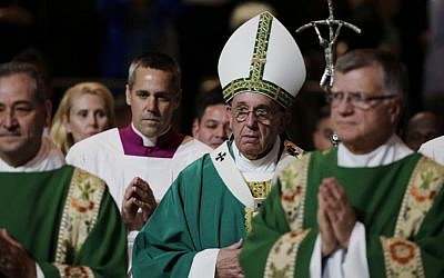 Pope Francis arrives to celebrate Mass at Madison Square Garden, Friday, Sept. 25, 2015, in New York. (AP/Julie Jacobson, Pool)