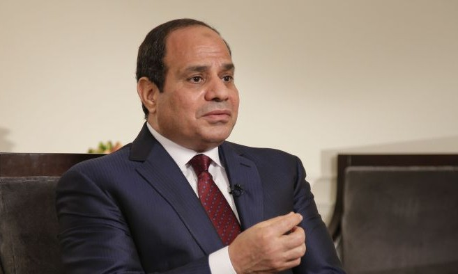 Egyptian President Abdel Fattah el-Sissi answers questions during an interview, Saturday, Sept. 26, 2015, in New York. (AP Photo/Julie Jacobson)