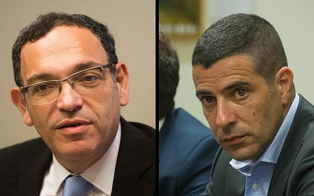 Outgoing Knesset members Shai Piron (left) and Sharon Gal (Yonatan Sindel/Miriam Alster/Flash90)