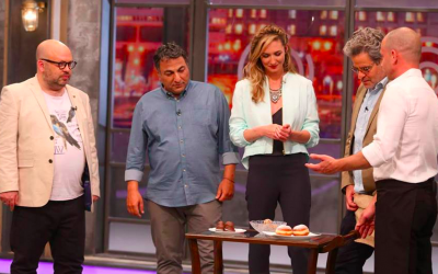Chef Haim Cohen (second from left), at the finale of the most recent season of 'Master Chef' (Courtesy Haim Cohen Facebook page)