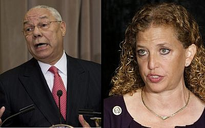 Colin Powell and Debbie Wasserman Schultz in images taken on September 3, 2015 (Carolyn Kaster/AP; Joel Auerbach/ AP)