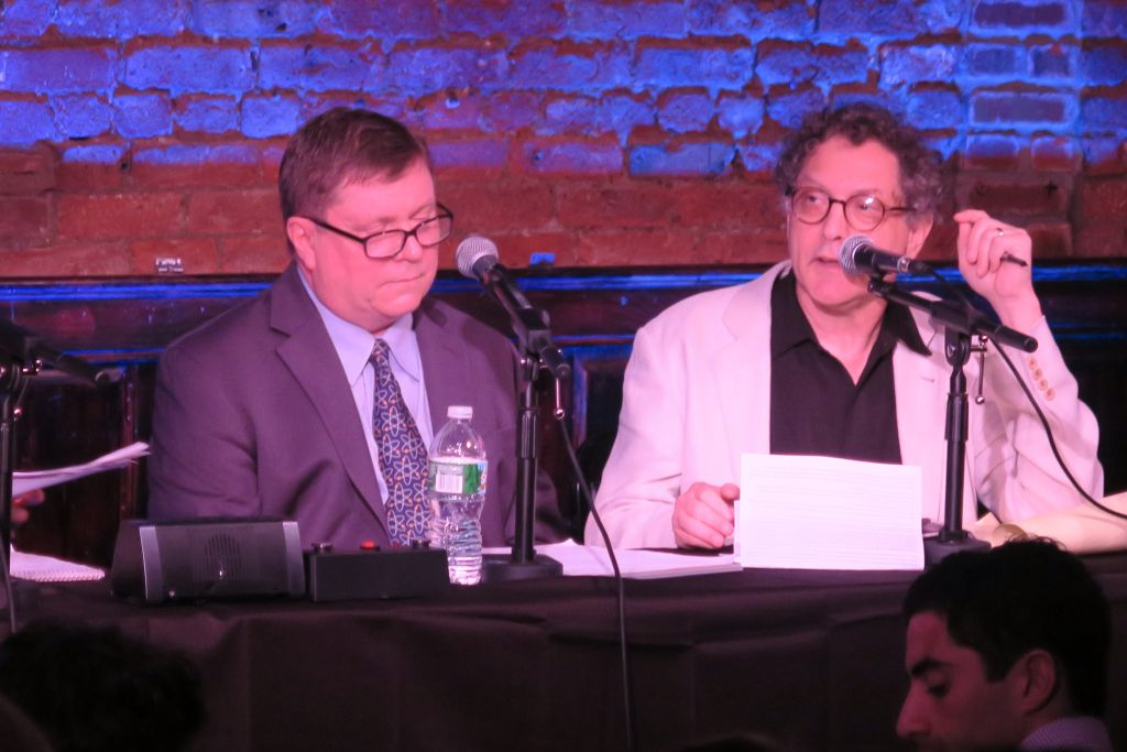Dr. Jim Walsh of MIT (left) and Fred Kaplan, an author and columnist for Slate, were in support of the deal at the September 4, 2015 Comedy Cellar debate. (Luke Tress/The Times of Israel)
