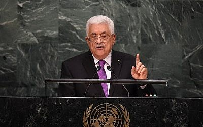 Palestinian Authority president Mahmoud Abbas addresses the 70th Session of the United Nations General Assembly at the UN in New York on September 30, 2015. (AFP/JEWEL SAMAD)
