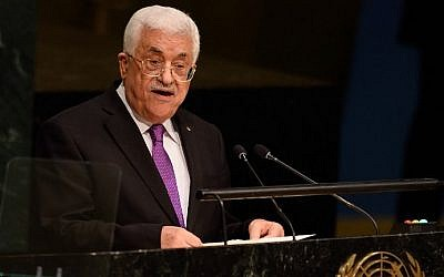 Palestinian Authority president Mahmoud Abbas addresses the 70th session of the United Nations General Assembly September 30, 2015 at the United Nations in New York. (AFP/DON EMMERT)