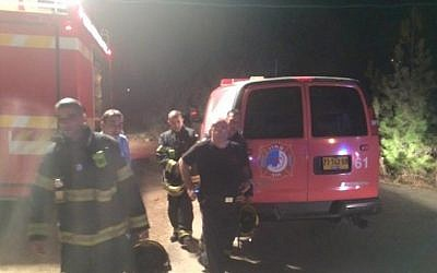Illustrative: Firefighters respond to an ammonia leak at a factory in Kibbutz Eilon, September 15, 2015. (Zebulon Fire Station)