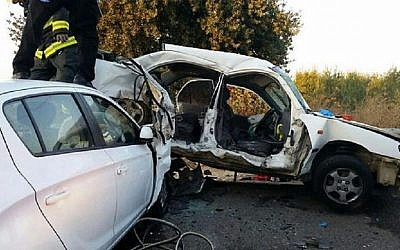The scene of a car accident in the Jezreel Valley in which two teenage sisters were killed, September 1, 2015 (United Hatzalah of Israel)