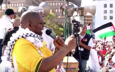 Obed Bapela, a deputy minister in South African President Jacob Zuma's office, speaks during a Palestinian solidarity protest on August 9, 2015 (Screen capture via YouTube)