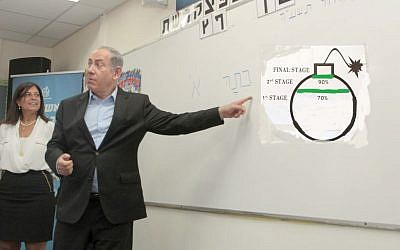 Benjamin Netanyahu in a school on September 1 pointing to another type of green line in a crudely-made photo illustration. (Nir Keidar/POOL/composite)