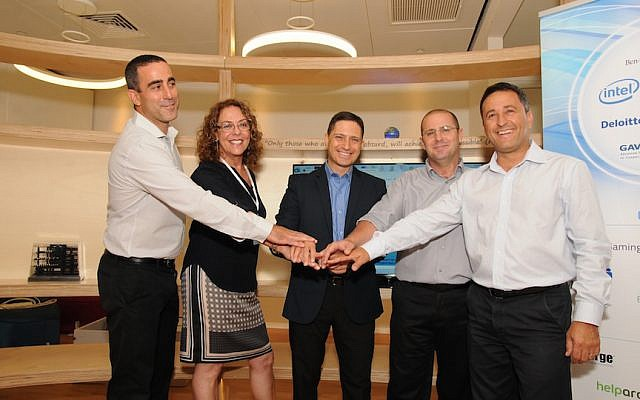 (L to R): Boaz Lavie, a CDI founder; Ben Gurion University Dean Rivka Carmi; Beersheba Mayor Rubik Danilovich; Ziv Ofek, CDI CEO; Sharon Sasportas, a CDI founder, at the opening of CDI , August 30 2015 (Shai Shmuel)