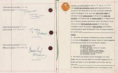 The 1962 contract between the Beatles and Brian Epstein (screen capture: Sotheby's)