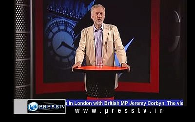 The new head of Britain's Labour party Jeremy Corbyn presents a call-in show on Iran's Press TV in 2010. (screen capture: YouTube)