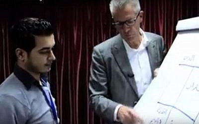 Dutch trauma expert Jan Andreae teaches a workshop in Gaza in 2013. (screen grab: YouTube)