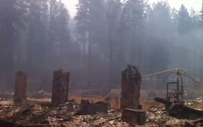 The remains of the former Hoberg Resort after it was destroyed in a California wildfire (YouTube screenshot)