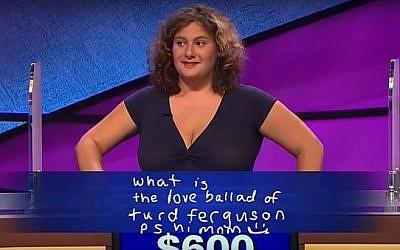 Talia Lavin on the game-show 'Jeopardy!' (YouTube screenshot)