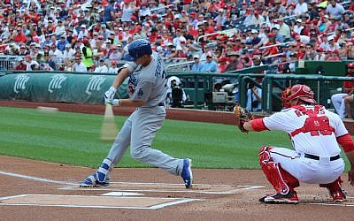 Joc Pederson taking a swing against the Washington Nationals, August 12, 2015. (Hillel Kuttler/JTA)