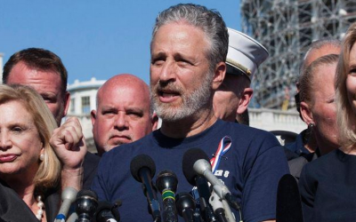 Jon Stewart speaking on Capitol Hill, September 16, 2015. (JTA/Twitter)