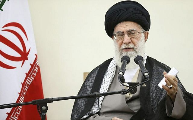 In this picture released by the office of the Iranian leader on Thursday, September 3, 2015, Supreme Leader Ayatollah Ali Khamenei speaks in a meeting with members of Iran's Experts Assembly in Tehran, Iran. (Office of the Iranian Supreme Leader via AP)