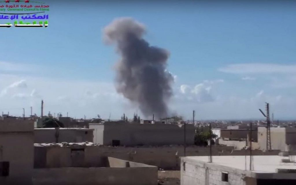 Still from a video purporting to show a Russian air strike on the northern Syrian village of Al-Lataminah on September 30, 2015. (screen capture: YouTube)