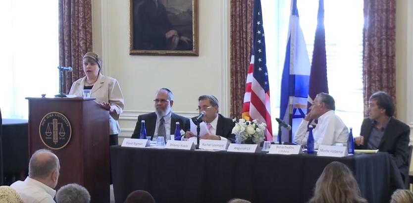 Rabbinical court advocate Rachel Levmore (left) (screen capture: YouTube)