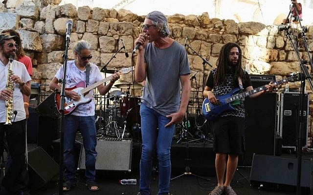 American Jewish singer Matisyahu performs at the Sacred Music Festival in the Old City of Jerusalem, September 4, 2015. (Eric Cortellessa)