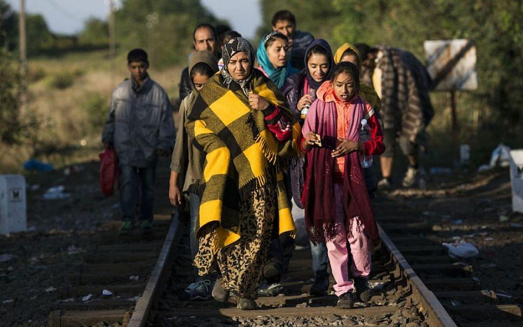 Migrants walking along a motorway near the southern Hungarian village of Roszke, September 7, 2015. (Matt Cardy/Getty Images/via JTA)