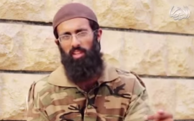British Islamic State recruit Omar Hussain in a video released by the jihadist group (screen capture via YouTube)