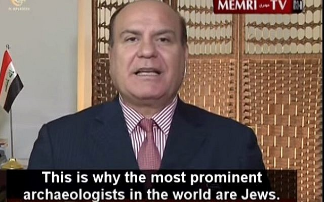 Iraqi historian and archaeologist Ali Al-Nashmi, who said in a TV show that there was an international Jewish mafia that aimed to acquire Iraqi antiquities, September 9, 2015.