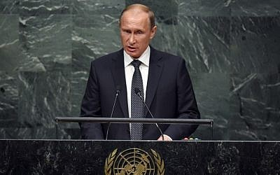 Russian President Vladimir Putin, addresses the 70th Session of the UN General Assembly September 28, 2015 at the UN in New York.  (AFP/ TIMOTHY A. CLARY)