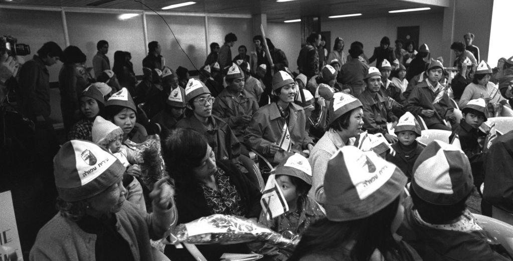 Vietnamese arrivals at Ben Gurion Airport, January 24, 1979 (Photo credit: Sa'ar Ya'acov/GPO)