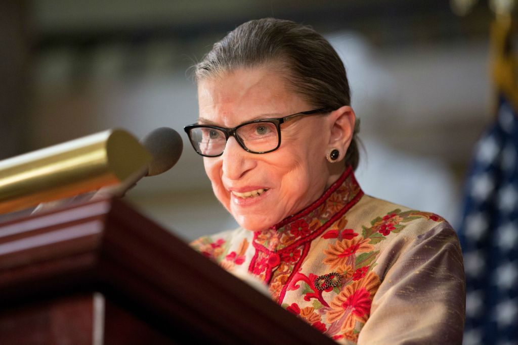 US Supreme Court Justice Ruth Bader Ginsburg speaking at an annual Women's History Month reception hosted by House Minority Leader Nancy Pelosi at the U.S. Capitol in Washington, D.C., March 18, 2015. (Allison Shelley/Getty Images/via JTA)